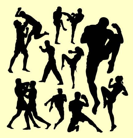 ムエタイ ボクシングのスポーツ シルエット。個人と戦闘。シンボル、ロゴ、web アイコン、マスコット、看板、ステッカー、または任意のデザイン  イラスト・ベクター素材