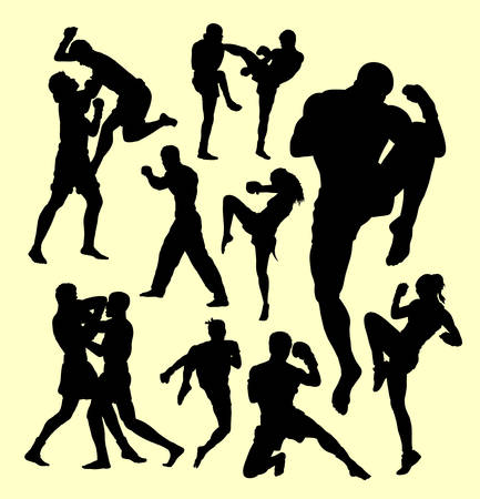 Muay thai boxing sport silhouette. individual and fighting. Good use for symbol, logo, web icon, mascot, sign, sticker, or any design you want.