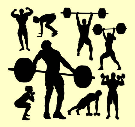 Fitness, gymnastic, body building, weightlifting sport silhouette. Good use for symbol, logo, web icon, mascot, sign, sticker, or any design you want