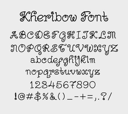 uppercase: Kheribow vector alphabet uppercase, lowercase characters, numbers and symbols. Good use for cover title, poster title, letterhead. Illustration