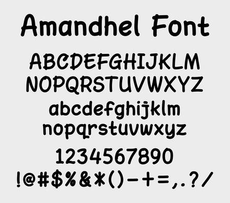 uppercase: Amandel vector font. Alphabet. uppercase, lowercase character, numbers, and symbols. Good use for cover title, letterhead, or any design title. Illustration