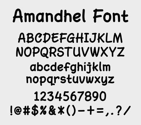 Amandel vector lettertype. Alfabet. Hoofdletter, kleine letters, cijfers en symbolen. Goed gebruik voor cover titel, briefhoofd of een ontwerptitel.