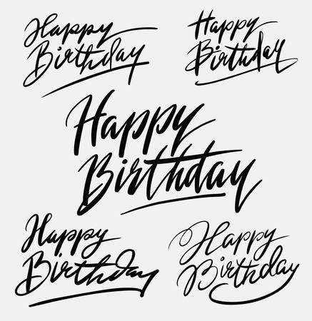 spontaneously: Happy birthday typography. Good use for logotype, symbol, cover label, product, brand, poster, title or any graphic design you want. Illustration