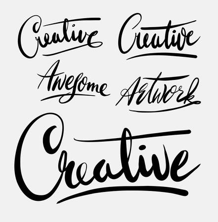 spontaneously: creative hand written typography. Good use for logotype, symbol, cover label, product, brand, poster title or any graphic design you want. Easy to use or change color