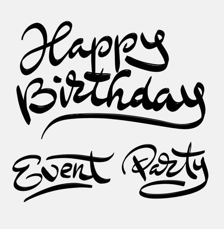spontaneously: Happy birthday event and party hand written typography. Good use for logotype, symbol, cover label, product, brand, poster title or any graphic design you want. Easy to use or change color
