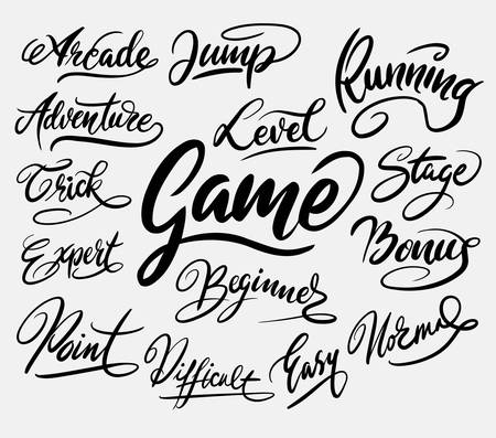 spontaneously: Game trick hand written typography. Good use for logotype, symbol, cover label, product, brand, poster title or any graphic design you want. Easy to use or change color Illustration