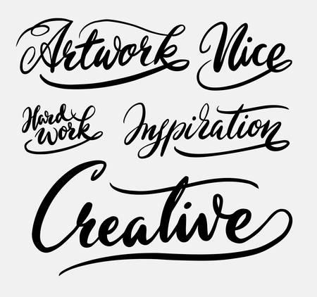 Tipografía escrita a mano de obras de arte creativas Foto de archivo - 77569315