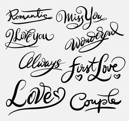 spontaneously: First love hand written typography Illustration