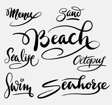 spontaneously: Beach and sea life hand written typography. Good use for logotype, symbol, cover label, product, brand, poster title or any graphic design you want.