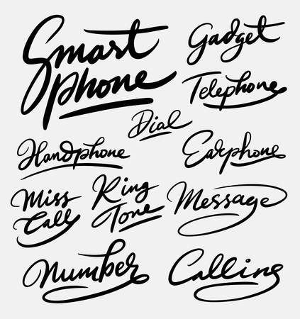 ringtone: Smart phone and gadget hand written typography. Good use for logotype, symbol, cover label, product, brand, poster title or any graphic design you want. Easy to use or change color