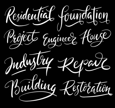 spontaneously: Building project hand written typography. Good use for logotype, symbol, cover label, product, brand, poster title or any graphic design you want. Easy to use or change color