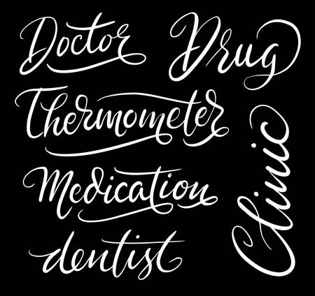 spontaneously: Clinic and drug hand written typography. Good use for logotype, symbol, cover label, product, brand, poster title or any graphic design you want.