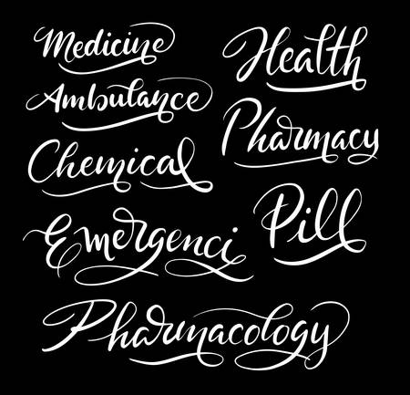 Medicine and health hand written typography. Good use for logotype, symbol, cover label, product, brand, poster title or any graphic design you want.