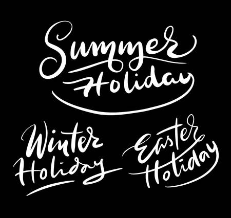 spontaneously: Holiday hand written typography. Good use for logotype, symbol, cover label, product, brand, poster title or any graphic design you want. Easy to use or change color Illustration