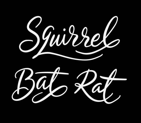 Squirrel and rat hand written typography. Good use for logotype, symbol, cover label, product, brand, poster title or any graphic design you want. Easy to use or change color