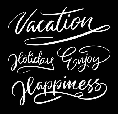 spontaneously: Vacation and holiday hand written typography. Good use for logotype, symbol, cover label, product, brand, poster title or any graphic design you want. Easy to use or change color