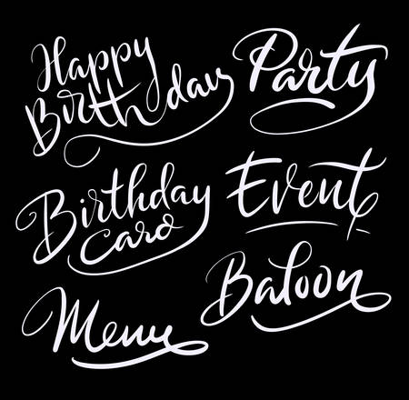Happy birthday and party hand written typography. Good use for logotype, symbol, cover label, product, brand, poster title or any graphic design you want. Easy to use or change color Ilustração