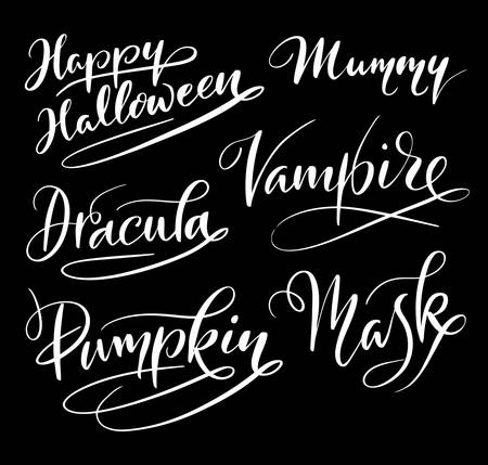 Happy Halloween and vampire hand written typography. Good use for logotype, symbol, cover label, product, brand, poster title or any graphic design you want. Easy to use or change color Illustration