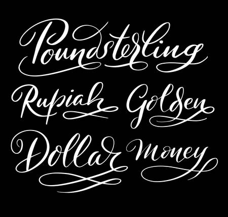 Dollar and money hand written typography. Good use for logotype, symbol, cover label, product, brand, poster title or any graphic design you want. Easy to use or change color