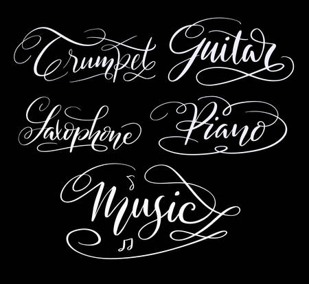 Music and guitar hand written typography. Good use for logotype, symbol, cover label, product, brand, poster title or any graphic design you want. Easy to use or change color