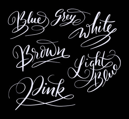 Blue color hand written typography. Good use for logotype, symbol, cover label, product, brand, poster title or any graphic design you want. Easy to use or change color Ilustração