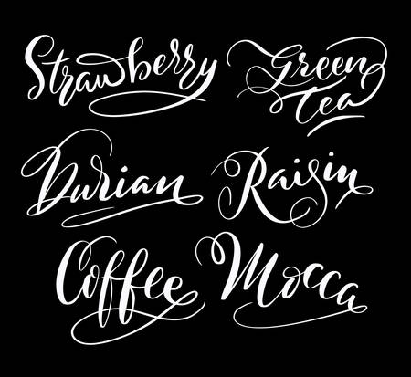 Coffee and raisin hand written typography. Good use for logotype, symbol, cover label, product, brand, poster title or any graphic design you want. Easy to use or change color Illustration