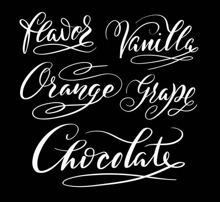 spontaneously: Flavor and chocolate hand written typography. Good use for logotype, symbol, cover label, product, brand, poster title or any graphic design you want. Easy to use or change color