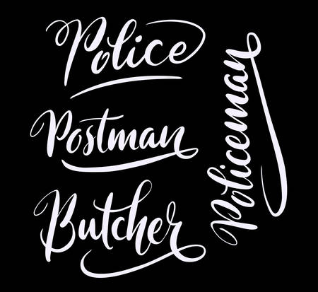 spontaneously: Butcher and policeman hand written typography. Good use for logotype, symbol, cover label, product, brand, poster title or any graphic design you want. Easy to use or change color Illustration