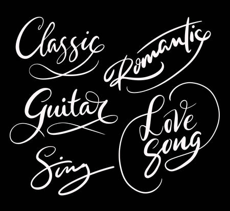 spontaneously: Love song and classic hand written typography. Good use for logotype, symbol, cover label, product, brand, poster title or any graphic design you want. Easy to use or change color Illustration