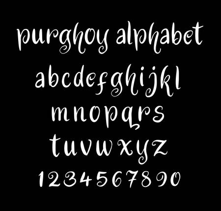 spontaneous: Purghoy vector alphabet lowercase characters. Good use for logotype, cover title, poster title, letterhead, body text, or any design you want. Easy to use, edit or change color.