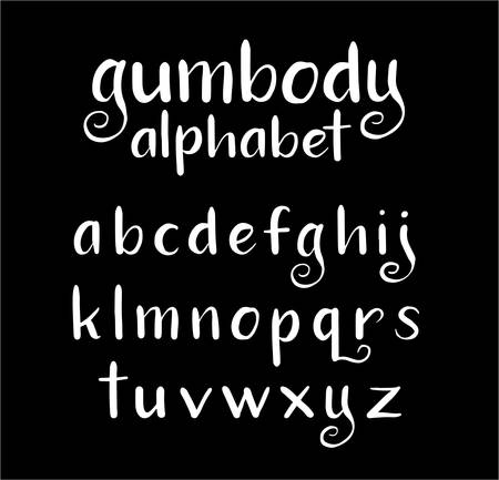 spontaneous: Gumbody vector alphabet lowercase characters. Good use for logotype, cover title, poster title, letterhead, body text, or any design you want. Easy to use, edit or change color.
