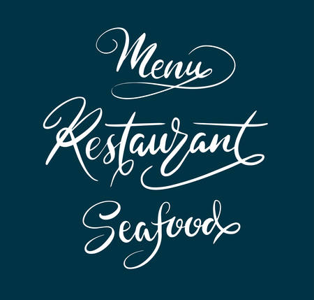spontaneously: Menu restaurant hand written typography. Good use for logotype, symbol, cover label, product, brand, poster title or any graphic design you want. Easy to use or change color