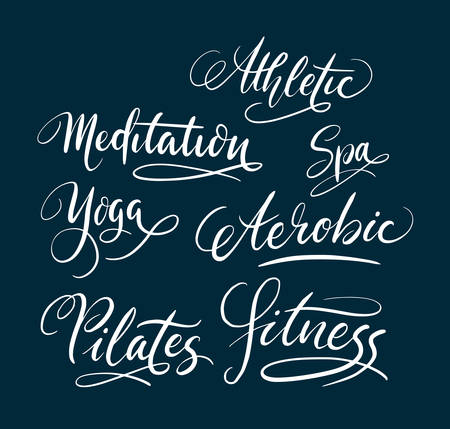use by label: Fitness and pilates hand written typography. Good use for logotype, symbol, cover label, product, brand, poster title or any graphic design you want. Easy to use or change color