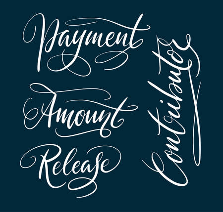 Amount and contributor hand written typography. Good use for logotype, symbol, cover label, product, brand, poster title or any graphic design you want. Easy to use or change color
