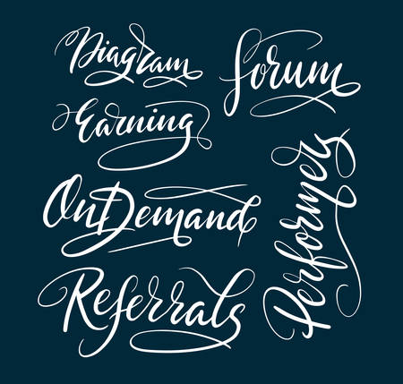 Referrals and earning hand written typography. Good use for logotype, symbol, cover label, product, brand, poster title or any graphic design you want. Easy to use or change color