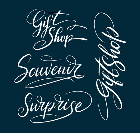 Gift shop and souvenir hand written typography. Good use for logotype, symbol, cover label, product, brand, poster title or any graphic design you want. Easy to use or change color Illustration