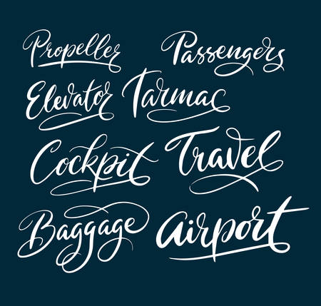 spontaneously: Travel and airport hand written typography. Good use for logotype, symbol, cover label, product, brand, poster title or any graphic design you want. Easy to use or change color Illustration