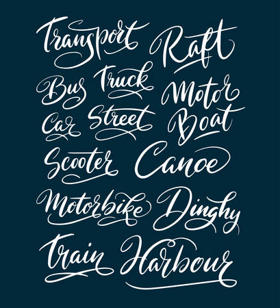Transport and truck hand written typography. Good use for logotype, symbol, cover label, product, brand, poster title or any graphic design you want. Easy to use or change color Illustration