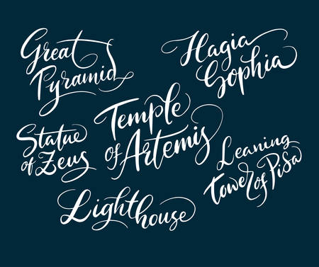 Great pyramid and statue of zeus hand written typography. Good use for logotype, symbol, cover label, product, brand, poster title or any graphic design you want. Easy to use or change color