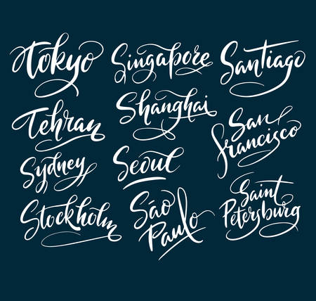 Tokyo and santiago city hand written typography. Good use for logotype, symbol, cover label, product, brand, poster title or any graphic design you want. Easy to use or change color Stock Vector - 80334878