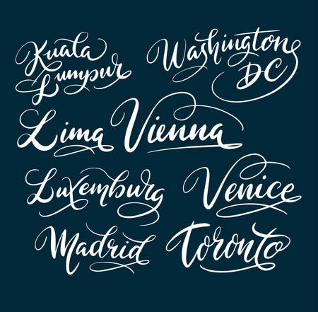 Kuala lumpur and Washington DC hand written typography. Good use for logotype, symbol, cover label, product, brand, poster title or any graphic design you want. Easy to use or change color