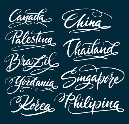 China and Singapore hand written typography. Good use for logotype, symbol, cover label, product, brand, poster title or any graphic design you want. Easy to use or change color Imagens - 80334713