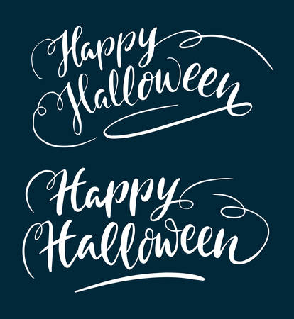 spontaneously: Happy halloween hand written typography. Good use for logotype, symbol, cover label, product, brand, poster title or any graphic design you want. Easy to use or change color Illustration