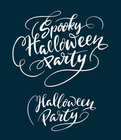 use by label: Halloween party hand written typography. Good use for logotype, symbol, cover label, product, brand, poster title or any graphic design you want. Easy to use or change color Illustration