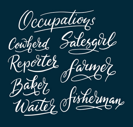 spontaneously: Reporter and salesgirl hand written typography. Easy to use or change color vector illustration.