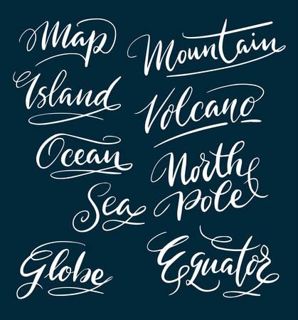 Eiland- en berghandgeschreven typografie. Goed gebruik voor logo, symbool, cover label, product, merk, poster titel of een grafisch ontwerp dat u wilt. Makkelijk te gebruiken of kleur te veranderen