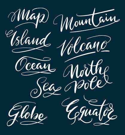 Island and mountain hand written typography. Good use for logotype, symbol, cover label, product, brand, poster title or any graphic design you want. Easy to use or change color
