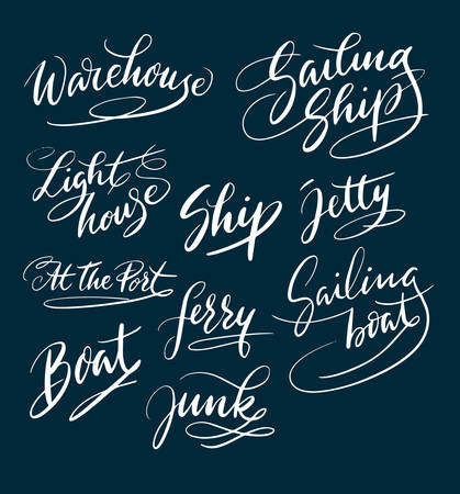 Boat and ship hand written typography. Good use for logotype, symbol, cover label, product, brand, poster title or any graphic design you want. Easy to use or change color