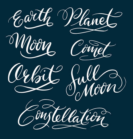 spontaneously: Earth and planet hand written typography. Good use for logotype, symbol, cover label, product, brand, poster title or any graphic design you want. Easy to use or change color Illustration