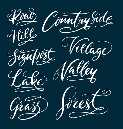 Countryside and forest hand written typography. Good use for logotype, symbol, cover label, product, brand, poster title or any graphic design you want. Easy to use or change color Illustration